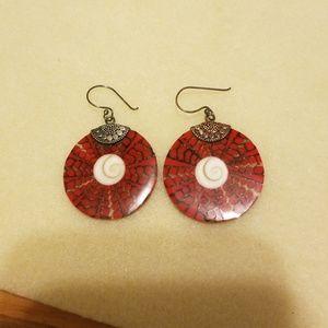 Red biwa & coral earrings in sterling silver